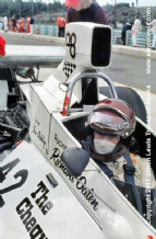 Ian Ashley, Brabham BT42 Cockpit close-up photo. US GP1974